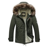 Wholesale Lambs Wool Padding - Wholesale- 2016 New Brand Men's Hood Cotton-padded Coat Casual Fur Collar Lamb Wool Lining Parka Winter Jacket Men Fashion Outerwear