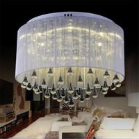 araña de cristal de plata moderna al por mayor-Moda moderna tela luz de techo araña luz Crystle plata lámpara colgante de cristal luz de techo sala de estar dormitorio