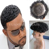 Wholesale Virgin Hot Full - Hot Sale 6inch 1B Virgin Indian Short Hair Afro Curl Toupee for Black Men Free Shipping