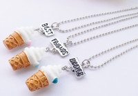 Wholesale forever kids - BFF Best Friends Forever Ice Cream Pendants Necklace Sweet fashion friendship Jewlery for Women Kids Gift Drop Shipping