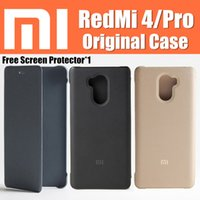 "Wholesale Xiaomi Flip Cover - redmi 4 xiaomi redmi 4 pro case 100% original flip cover funda Snapdragon 625 430 5"" for xiaomi red mi 4 case"