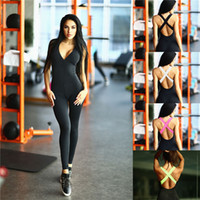 Wholesale Elasticity Jumpsuits - Elasticity Black Fitness Jumpsuit & Rompers 2017 Sporting Skinny Bodysuit Fashion Bandage Slim Playsuit Women Plus Size MTL ZC1976