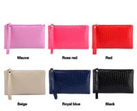 Wholesale Women Leather Pure Wallet - New hotsale cute edition pure color pu leather coin purse embossed zipper crocodile grain change crocodile purse Fashion female wallet