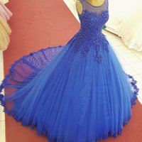 Wholesale Sweet 16 Gowns - Royal Blue Tulle Beaded Quinceanera Dresses Ball Gowns Sheer Scoop Neck Appliques Plus Size Sweet 16 Dress Puffy Prom Party Gown