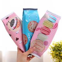 Wholesale Cracker Bag - Kawaii Macaron School Pencil Case For Girls Chocolate Cracker PU Leather Pencil Bag Kids Gift School Supplies 10pcs free ship