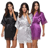 Plus Size Lace Patchwork Braut Brautjungfern Robe Sexy Dessous Frauen Seide Hochzeit Party Kimono Robes Nightgown Nachtwäsche Bademantel