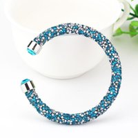 Wholesale Crystal Fashion Bangles - Fashion Brilliant Bracelets Full Of Crystal Cuff Open Bangle Powerful Elasticity Crystal Dust Jewelry Gift Swarovski Elements