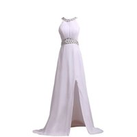 Wholesale Bandage Dresses Diamond - 2017 With Diamond Crystal Evening Dresses Long Scoop Neck Sleeveless Prom Gowns A Line Split Side Free Shipping