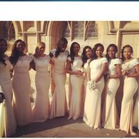 Wholesale Ivory Lace Bridesmaid Dress Long - South African Ivory White Lace Long Mermaid Bridesmaid Dresses Black Girls Wedding Party Dress Vestidos Boda Invitados 2017 Maid of Honor