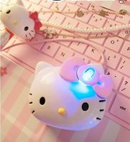 Wholesale Mini Pink Computer Mouse - Creative Mini Cute Cartoon Pink Hello Kitty Optical USB Wired Women Girl Mouse Office Mice For Computer Laptop Tablet PC Gift