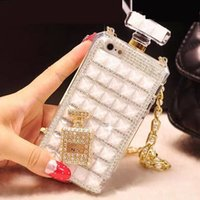 Wholesale Iphone Case Perfume Bottle - 05 White Long Chain Perfume Bottle Handmade Bling Rhinestone Phone Protect Back Cover Cellphone Case For iPhone 5 5s 6 6 Plus 7 7 Plus