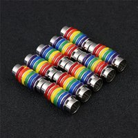 Wholesale 6mm Leather Cord Ends - LINSOIR 5pcs Copper LGBT Rainbow Magnetic Clasps Fit 6mm Round Leather Cord Bracelet End Clasps Connectors for Jewelry Making