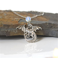 Wholesale Dragon Long Necklace - 20pcs Dragon Moonstone Necklace Silver Tone Long Necklace