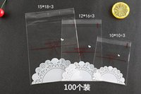 Wholesale halloween candy cookies - 100Pcs Cute lace bow Print self-adhesive Gifts Bags Christmas Cookie packaging plastic bags for biscuits Candy Cake package