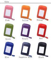 Wholesale Full Purse - Women Zipper Leather Card Holders Wallet Purse Mini Handbag Fashion portable 9 Color 100% Full Grain Leather A060
