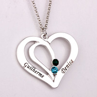 Wholesale 14k Gold Couple Necklace - Engraved Couples Necklace 2016 Personality Birthstone Necklaces Custom Made Any Name Valentine's Day Present for Lovers YP2492