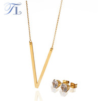 Wholesale Unique Letter V - TL Stainless Steel English Letter Jewelry Sets For Women Letter V-X Unique Design Solid Silver & Gold Colors Love Party Jewelry