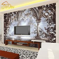 Al por mayor-Personalizada 3D Photo Wallpaper Europeo Retro Gran TV Mural Contextos Home Decor Papel De Parede 3D Wallpaper Living Room Mural