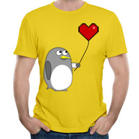 Wholesale Penguin Balloons - 2017 Men's Short-sleeved T-shirts Vigorous Yellow Mens Summer Young Style Tees Shirt Pure Cotton Penguin With A Pixel Heart Balloon