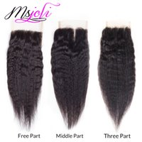 Mongol 7A Virgin Cabelo Humano Kinky Straight Yaki Natural Color 4x4 Lace Top Cierre Thre / Free / Middle Part 6-20 Inch From Msjoli