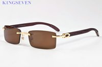Wholesale mens wood sunglasses for sale - luxury brand sunglasses for women designer rimless mens glasses gold metal alloy wood bamboo frame buffalo horn sunglasses