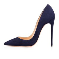 Wholesale Handmade Women Shoes - Zandina Ladies Handmade Fashion ASO-kate 120mm Pointed Toe Classic Party Slim Heel Pumps Stiletto Shoes Suede Blue