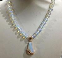 Wholesale Opal Inlay Bracelet - 8mm Sri Lanka Moonstone Gemstone Pendant Necklace Inlay Crystal