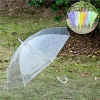 Wholesale Wholesale Yellow Umbrellas - Transparent Clear EVC Umbrella Long Handle Rain Sun Umbrella See Through Colorful Umbrella for Rainproof Wedding Photo for Adult Kids
