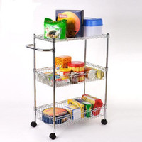 chrom-metall-rack großhandel-Chrom Home Küche Metall Korb Rack Trolley
