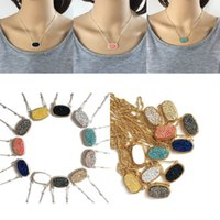 Wholesale Pave Link Chain Wholesale - Hot Brand Druzy pave pendant necklaces Silver and Gold Plated geometric shapes Resin Charm Necklace For women Fashion Luxury Jewelry Gift
