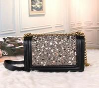 Wholesale Bags Handbags Fashion Colorful Style - Luxury Brand Fashion Designer LE BOY Colorful stone Women Shoulder Bags Classic Black Leather Handbags Gold Chains Lady messenger bag totes
