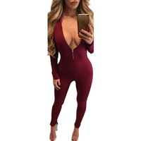 Wholesale Long Sleeve Bodysuit Catsuit Jumpsuits - Autumn Winter Women Long Sleeve Jumpusit Long Pant 2018 Sexy Bodysuit Overall Catsuit Night Out Clubwear Party Rompers Womens Jumpsuit