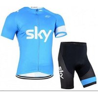Wholesale Sky Jersey Bibs - 2016 Sky Cycling Jersey Short Sleeve Jersey Bib Shorts Set Pro Team Sky Cycling Clothing Maillot Bike  Bicycle Wear