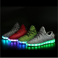 Led Luminous Shoes for sale - The new light cool fly fabric leisure lovers shoes LED luminous USB lamp shoes in four colors and coconut size 35-46