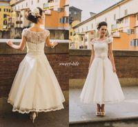 Wholesale size 16 tea length dress for sale - Group buy 50s Style Retro Vintage Wedding Dresses Cap Sleeves Lace Beads Buttons Short Ankle Length Sash Organza Bridal Dress