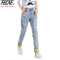 Wholesale Women Harem Brand Jeans - Wholesale- Brand Denim Pants Women Ripped Jeans Torn Casual Trousers Slim Harem Pants Straight Loose Holes Mom Ripped Jeans Female Mujer