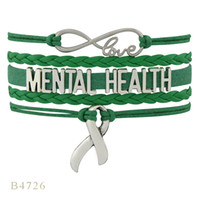 Wholesale Infinity Mens Bracelet - (10 PCS Lot) Infinity Love Mental Health Awareness Ribbon Charm Gift Women's Mens Green Leather Multilayer Wrap Bracelet Custom