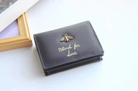 Wholesale Bee Coin - AAAAAAA Quality Famous Brand design Genuine leather wallet Josh Gaston Bee Cobalt Regatta pouch renovate wallet with double logo Card Holder