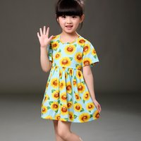 Wholesale Girl Party Dress Pattern Free - 2017 Summer Style Sleeveless Dress Girl Dress Sunflower pattern Printed Kids Dresses Girls Clothes Party Princess Dress Free shipping