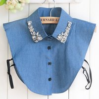 Wholesale Korean Collar Shirt Women - Denim Jeans Big Stones Womens Fake Collar Blue Faux Cols Korean Cowboy Shirt Detachable Shirt Sweater False Collars Wholesale