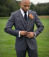 Wholesale tailored jackets - Tailored made New Dark Grey Groomsmen Tuxedos Cheap Slim Fit Best Price Men Wedding Suits (Jacket+Pants+Tie+Vest)