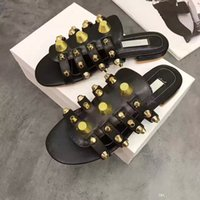 Wholesale Womens Black Studded Heels - New Summer Studded Slippers Womens Flats Cut out Rivets Genuine leather Fashion Brand Women Gladiators T Show Ladies Sandals Hot