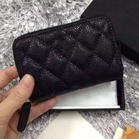 Wholesale Coin Purse Id Holder - Free shipping!Women Genuine Leather Lambskin Leather & Caviar Coin Purse Small Purse With Zipper Designer Card & ID Holders