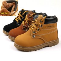 Wholesale Toddler Fashion Boots Brown - 2017 Comfy Kids Winter Fashion Child Leather Snow Boots For Girls Boys Warm Martin Boots Shoes Casual Plush Child Baby Toddler Shoes