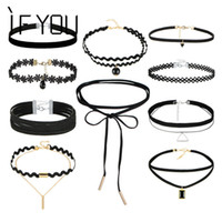 Wholesale wholesale leather lace for jewelry - Wholesale- IF YOU 2017 10 PCs Set Gothic Sexy Black Leather Lace Flower Hollow Choker Necklace Set Necklaces Collier For Women Jewelry