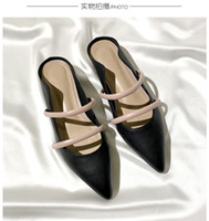 Wholesale Shoes Rough - Handmade custom pointed canvas low to help rough with sandals female summer leather single shoes flat with slippers shoes