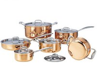 Wholesale High grade Copper Pieces Cooking Pots With Frying Pan Stainless Pot Hot Pot And Pans Cookware Set