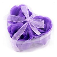 Wholesale Wholesale Body Soap - Flower Soaps Bath Body Rose Petal Wedding Favors Birthday Gifts Party Home Decoration 7 Colors Flower Wedding Gift Rose Soap