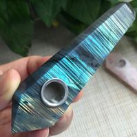 Wholesale Natural Labradorite Gems - Rare Natural Labradorite POINT Gem light Quartz Crystal Wand Pipe Hole