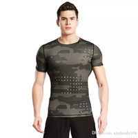 Wholesale Green Camouflage Shirt - Short - sleeved tights fitness clothes men 's sports outdoor camouflage clothing sweat perspiration dry clothes basketball running T - shirt